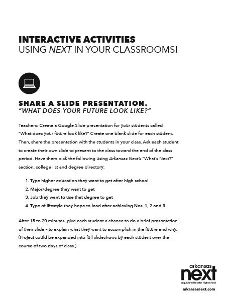 2018/2019 Arkansas NEXT Interactive Activities - Share a Slide